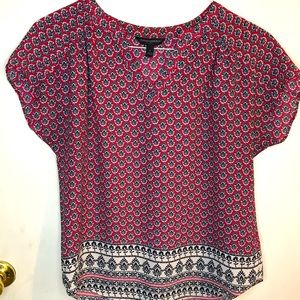 Banana Republic red print blouse size small